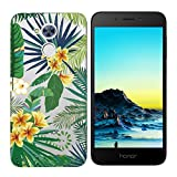 Coque Huawei Honor 6A,Huawei Honor 6A Etui TPU,ZHXMALL Premium Flexible Souple Silicone Ultra Mince Lége Transparent Case Slim Gel Couverture Housse Protection Anti rayures AntiChoc Pare-chocs Coque pour Huawei Honor 6A - Feuilles vertes Fleurs jaunes