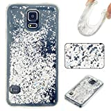 [2017 New Release] Samsung Galaxy S5 Glitter Bling soft TPU Silica gel Case,icolor 3D Creative Flowing Floating Water Liquid Swimming Small star Design Luxury Sparkly Bling Glitter soft Plastic Transparent Clear Back soft Shell Protective Case Cover with soft TPU bumper for Samsung Galaxy S5 - Silver