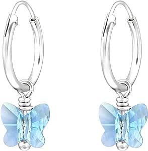 SL-Silver Orecchini a cerchio in argento Sterling 925, con pendente a forma di farfalla in cristallo, in confezione regalo