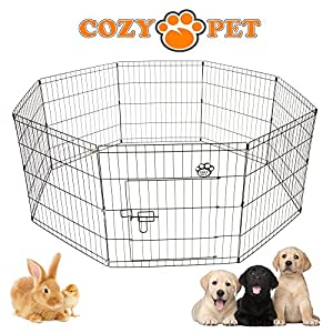 Cozy Pet Puppy Playpen for Dogs Puppies Rabbits Guinea Pigs, Puppy Play Pen Whelping Pen Dog Cage Puppy Crate Rabbit Run 3 Sizes Available - PP01…