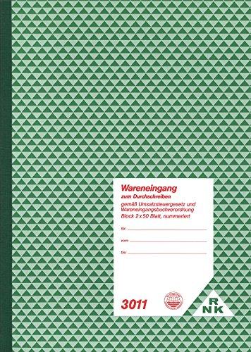 RNK 3011 - Wareneingang, Block mit 2 x 50 Blatt mit Durchschreibepapier und Nummerierung, DIN A4