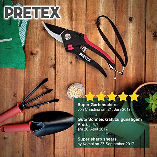 PRETEX Gartenschere mit einhändig bedienbarem Sicherungshebel