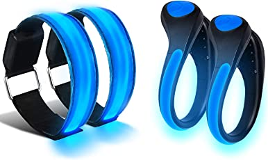 Alviller LED Armband und Blink Clip,4 Stück helle Nacht glänzend Reflektierende glänzend Blau Armband und Schuh Clip Reflektor für Kinder Radfahren. Laufen, Jogger, Walking, Outdoor Sport im Dunkeln