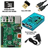 SB Raspberry Pi 2 Starter Kit Complet avec adaptateur WiFi (Raspberry Pi 2 Model B + WiFi Dongle + 8 Go + Carte SD Bleu Transparent + Alimentation + câble HDMI)
