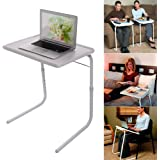 Foldable Assembled Table TV Tray Portable Folding Snack Table - Adjustable Sofa Side Table, Bed Laptop Desk Table for Breakfa