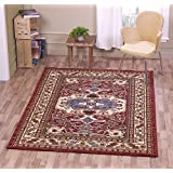 "A2Z Rug Traditional Qashqai 5578 Stylish Collection Area Rugs, Red 200x290 cm - 6'6x9'5"" ft"
