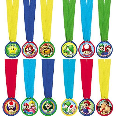 Super Mario Bros Mini Award Medals, 12 Units (Amscan 396611)