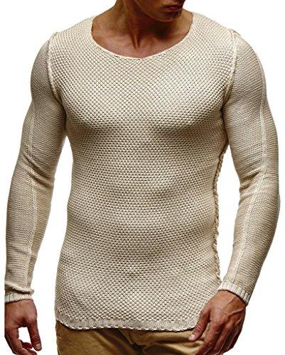 LEIF NELSON Herren Pullover Strickpullover Hoodie Basic Rundhals Crew Neck Sweatshirt Langarm Sweater Feinstrick LN20711; Größe S, Beige  