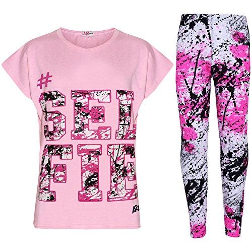 A2Z 4 Kids® Kinder Mädchen Top Love Aufdruck - Selfie Splash Set. Baby Pink 11-12
