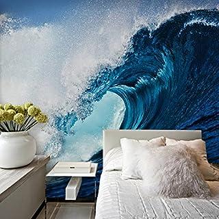 Große 3D Stereo Tapete Wandbild Blue Wave Surf Hintergrund Schlafzimmer TV Hintergrund Wand, XXL(13'6