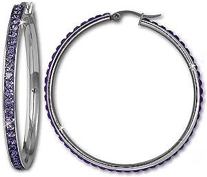 Amello Orecchini a cerchio in acciaio inox con Swarovski Elements viola - diametro 50mm - Orecchini donna - Acciaio inossidabile ESOS05V
