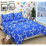 Sky Tex Blue Color Light Weighted 120 TC Cotton Stars Printed Double Bed Sheet With 2 Pillow Covers