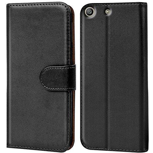 Verco Xperia M5 Hülle, Handyhülle für Sony Xperia M5 Tasche PU Leder Flip Case Brieftasche - Schwarz