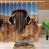 Retro - Cortina de ducha de tela resistente al moho para camión o camión con alfombras antideslizantes de 60 x 40 cm para baño, diseño abandonado en los años 30 en la ciudad fantasma de Bodie California 180 x 180 cm
