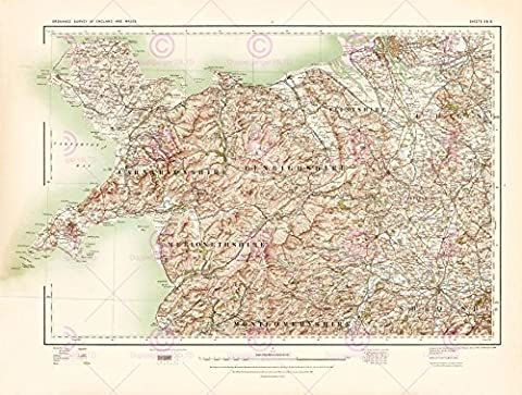 MAP 1902 OS UK ANGLESEY NORTH WALES LARGE REPLICA POSTER PRINT PAM0395