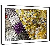 BFAB1468E gerahmtes Bild Druck Wandkunst - lila Fliese gelb Mosaik Modernes Abstrakte Landschaft Wohnzimmer Schlafzimmer Stück Wohnkultur Leicht Hang Guide (86x61cm)