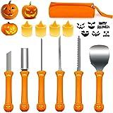 Kit de Sculpture de Citrouille Halloween, 6 Pièces Couteau à Découper Professionnel en Acier Inoxydable avec 4 Bougies LED, O