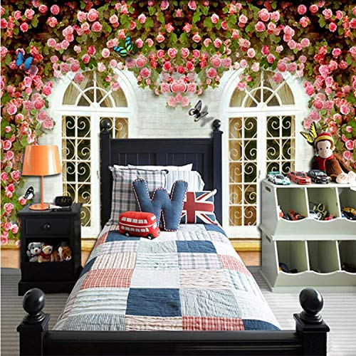 Custom Mural European Style 3D Wallpaper Fresh Garden Rose Wall Paper Roll Cafe Restaurant Home Decor200*140 Cm