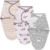 SaponinTree Lot de 3 couvertures d'emmaillotage pour Nouveau-né et Nourrisson, 100 % Coton Respirant, réglables, couvertures