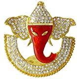 #8: BK Creation Golden Red Lord Chand Ganesha Idol Studded with Stones for Car Dashboard - Home Decore (BK-009)