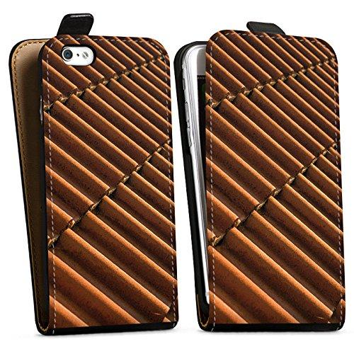 Apple iPhone X Silikon Hülle Case Schutzhülle Dachziegel Ziegel Look Muster Downflip Tasche schwarz