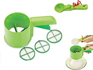 Magikware Flour Strainer Shifter with Multi Purpose Scoop (Green, Set of 4)
