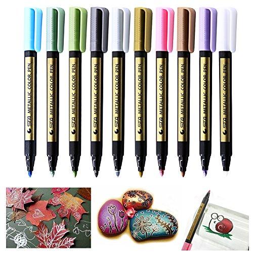 laconile Metallic Marker Stifte-Set von 10verschiedene Farben für Geschenk Karte machen, DIY...