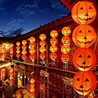 Pro-Noke Halloween Decorations Paper Lanterns with LED Light Halloween Indoor and Outdoor Decoration Pumpkin Lantern 4 Pcs