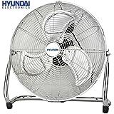 HYUNDAI HY-306 Bodenventilator   Ø45cm, 100 Watt   Vollmetall Windmaschine   Ventilator   Klimagerät   Luftkühler (Chrom Metall Ventilator)