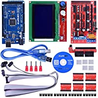 Kuman K17 3D Printer Controller Kit RAMPS 1.4 Mega 2560 R3 + 5pcs A4988 Stepper Motor Driver with Heatsink + LCD 12864 Graphic Smart Display Controller with Adapter For Arduino RepRap