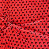 Fleece Stoff Fleecestoff Meterware rot/schwarze Punkte