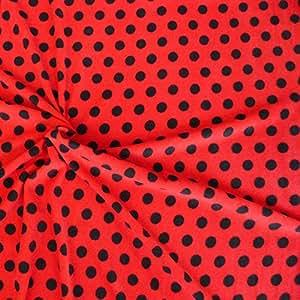 fleece stoff fleecestoff meterware rot schwarze punkte. Black Bedroom Furniture Sets. Home Design Ideas