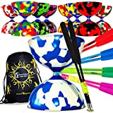 Flames 'N Games Juggle Dream Jester PRO Diabolo + Bastoncini in Fibra di Vetro Inclusi Diablo Rope Travel Bag (Verde Nero)