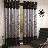 #7: Home Sizzler 2 Piece Eyelet Polyester Door Curtain Set - 7ft, Brown