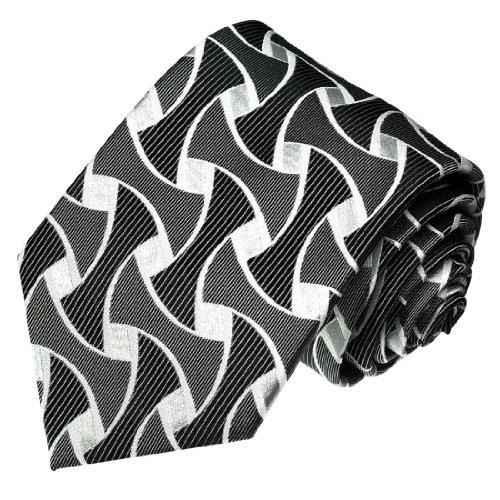 LORENZO CANA - Luxus Krawatte aus 100% Seide - Seidenkrawatte silber grau silbergrau anthrazit Struktur Muster - 42057 (Schwarz Geometrische Seidenkrawatte)