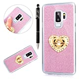 Custodia Galaxy S9 Plus, Cover Galaxy S9 Plus Brillantini con Anello, SainCat Custodia in Ultra Slim Bling Bling Silicone Cover per Samsung Galaxy S9 Plus, Custodia Flessibile Silicone Brillantini Bling Glitter Strass Diamante Cover Gomma Morbida Ultra Sottile Morbida Gel Ultra Soft Cover Sottile Silicone TPU Case Custodia Cover Bumper Antiscivolo Custodia Trasparente Silicone Morbido Cover per Samsung Galaxy S9 Plus-Blu