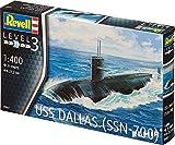 Revell Modellbausatz Schiff 1:400 - USS DALLAS (SSN-700) im Maßstab 1:400, Level 3, originalgetreue Nachbildung mit vielen Details, U-Boot, 05067