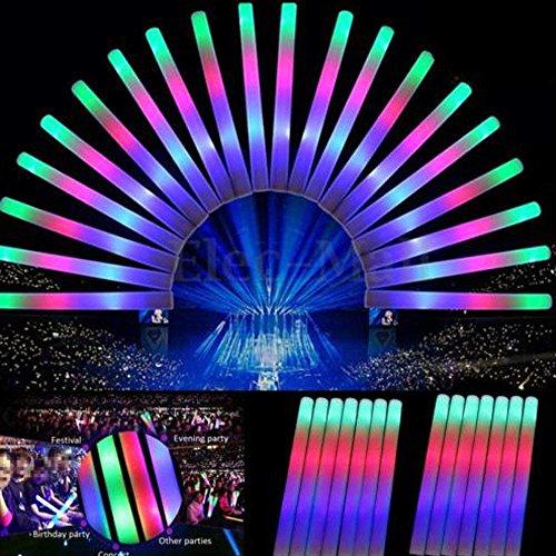 SUNCHI 120X LED Schaumstoff Leuchtstick Leuchtstab Bunte Schwamm LED Leuchtstofflampen Knicklichter Bunte Flashing Glow Foam Sticks für Parteien Festival Konzerte Raves Hochzeiten