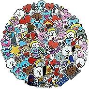 KASTWAVE 40 Pieces Of Bts Waterproof Cute Cartoon Sticker Set Decoration-Suitable For Water Bottle Skateboard