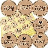 300 Stück Kraftpapier Aufkleber Made With Love Sticker Aufkleber Etiketten Rund Selbstklebend...