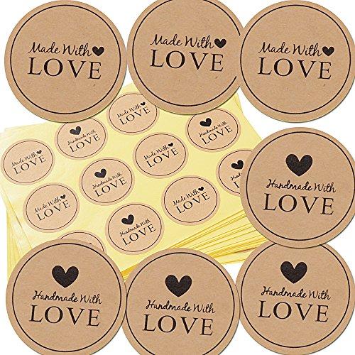 SERWOO (da. 3.8cm) 300pz Etichette Adesivi Rotonde Handmade with Love per Sacchetti Bomboniere Regalo Festa Comunione Matrimonio Battesimo Compleanno Natale Ringraziamento (25 Fogli)