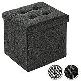 TecTake Faltbarer Sitzhocker Aufbewahrungsbox Sitzwürfel Hocker Würfel Möbel 38x38x38 cm - diverse Farben - (Dunkelgrau | Nr. 402234)