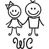 WINOMO Muursticker, karikatuur-toilet wasruimte-toilet afneembaar DIY wandafbeelding PVC-muurbehang behang voor hoofddocument
