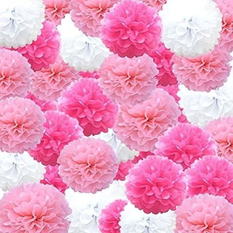sevenmye 45Teile Seidenpapier Pom Laterne Flower Ball Hochzeit Geburtstag Party Outdoor Dekorationen (10cm/15cm/20cm, pink/rose/weiß) rose-pink-white