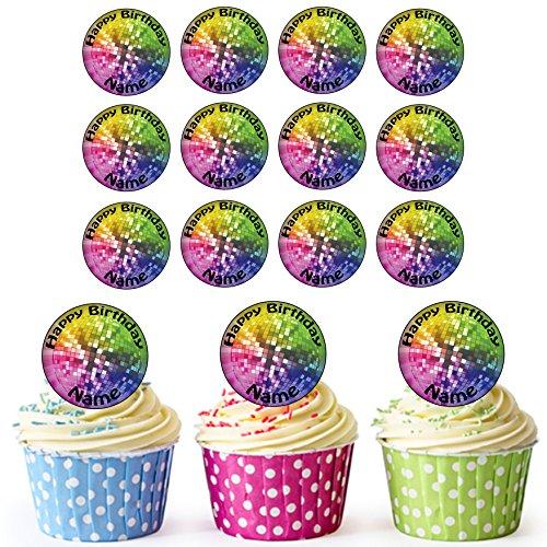 Discokugel 24 Personalisierte Vorgeschnittene Kreise - Essbare Cupcake Aufleger / Geburtstagskuchen Dekorationen