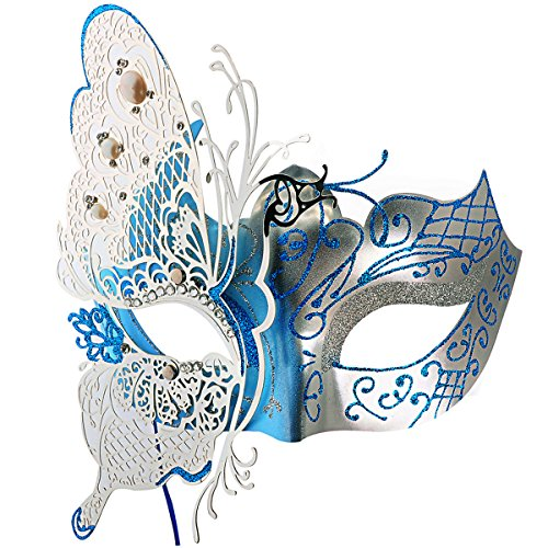 Coofit Venise Masque Vénitien Mascarade Métal Halloween /Masquerade/Costume Party (Bleu ciel 01)