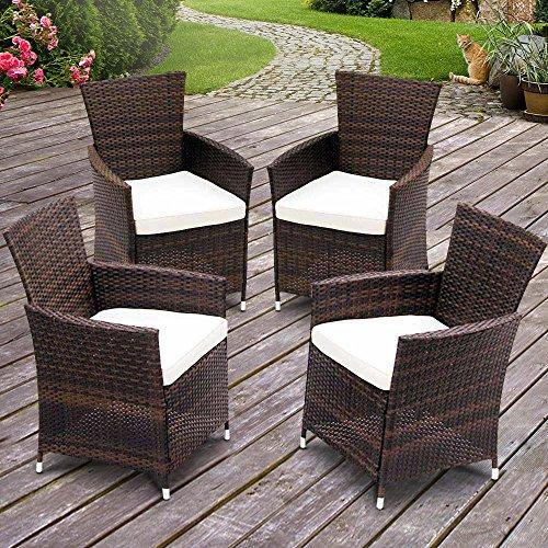 Miadomodo – Conjunto de 4 sillones de jardín de poliratán - diferentes colores a elegir