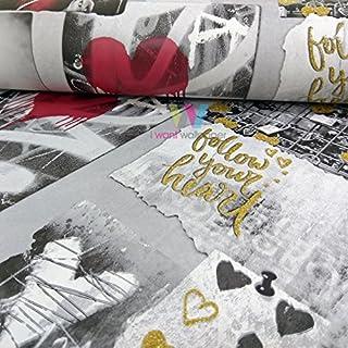 Muriva Love Rocks Heart Pattern Wallpaper Photo Collage Camera Glitter Motif (Gold A10302)