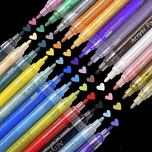 SUPERSUN 24 Farben Acrylfarben Acrylstifte Wasserfest, Holz Stifte Wasserfest Stift für Leinwand, Holz, Steine, Fotoalbum, Glasmalerei, DIY-Handwerk (10 DIY Karten) - Dünnes Holz