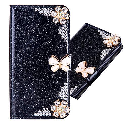 Preisvergleich Produktbild Bookstyle Bling für Samsung M20, Glitter Glitzer Diamond Musterg Slim Retro Klassisch Modisch Magnet Ledertasche Stand Funktion Kartenfach Magnetverschluss Flip Wallet Hülle Schutzhülle
